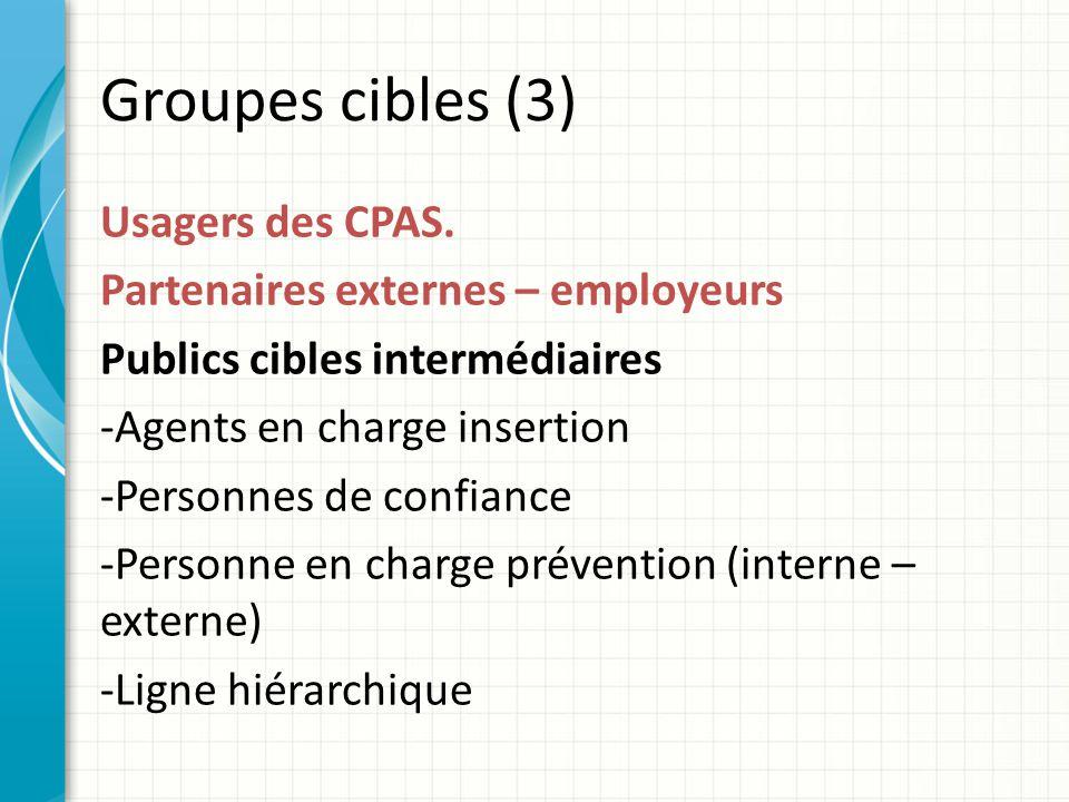 Groupes cibles (3) Usagers des CPAS.