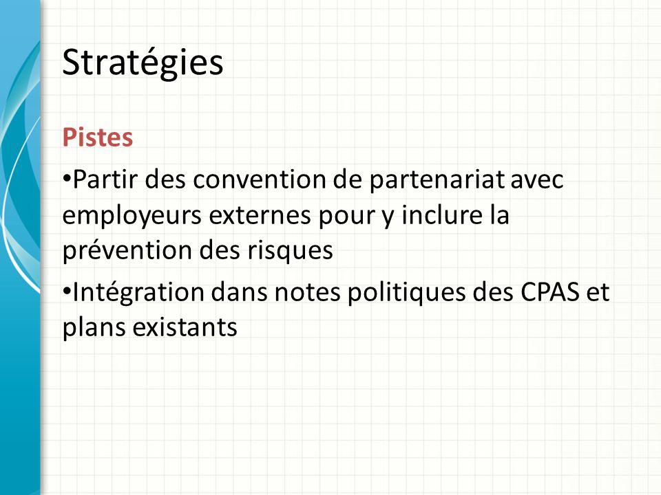 Stratégies Pistes Partir des convention de partenariat avec employeurs externes pour y inclure la prévention des risques Intégration dans notes politiques des CPAS et plans existants