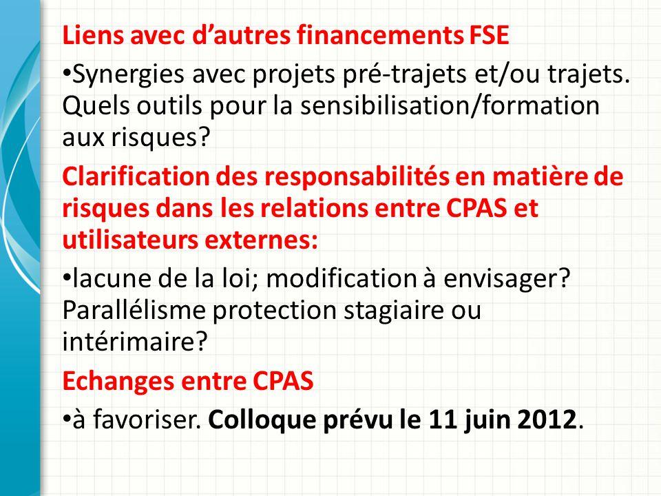 Liens avec dautres financements FSE Synergies avec projets pré-trajets et/ou trajets.