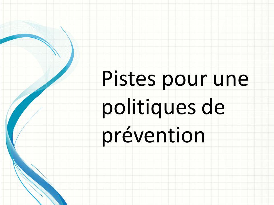 Pistes pour une politiques de prévention