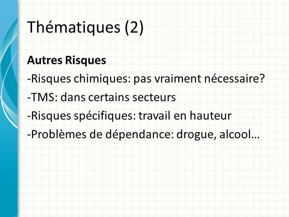 Thématiques (2) Autres Risques -Risques chimiques: pas vraiment nécessaire.
