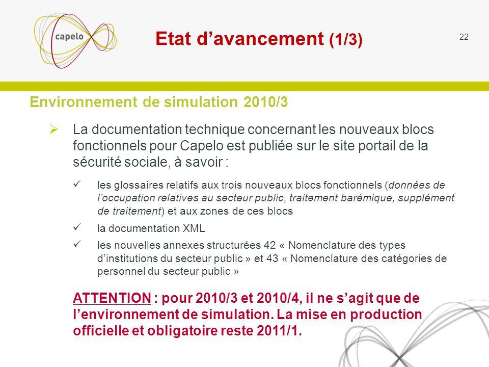 Environnement de simulation 2010/3 La documentation technique concernant les nouveaux blocs fonctionnels pour Capelo est publiée sur le site portail de la sécurité sociale, à savoir : les glossaires relatifs aux trois nouveaux blocs fonctionnels (données de loccupation relatives au secteur public, traitement barémique, supplément de traitement) et aux zones de ces blocs la documentation XML les nouvelles annexes structurées 42 « Nomenclature des types dinstitutions du secteur public » et 43 « Nomenclature des catégories de personnel du secteur public » ATTENTION : pour 2010/3 et 2010/4, il ne sagit que de lenvironnement de simulation.