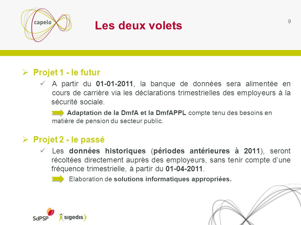 Les deux volets Projet 1 - le futur A partir du 01-01-2011, la banque de données sera alimentée en cours de carrière via les déclarations trimestrielles des employeurs à la sécurité sociale.