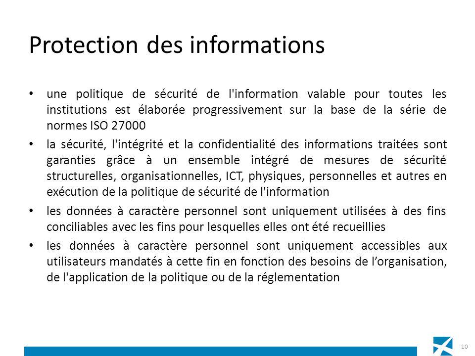 Protection des informations une politique de sécurité de l'information valable pour toutes les institutions est élaborée progressivement sur la base d
