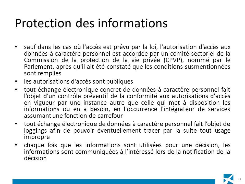 Protection des informations sauf dans les cas où l'accès est prévu par la loi, l'autorisation daccès aux données à caractère personnel est accordée pa
