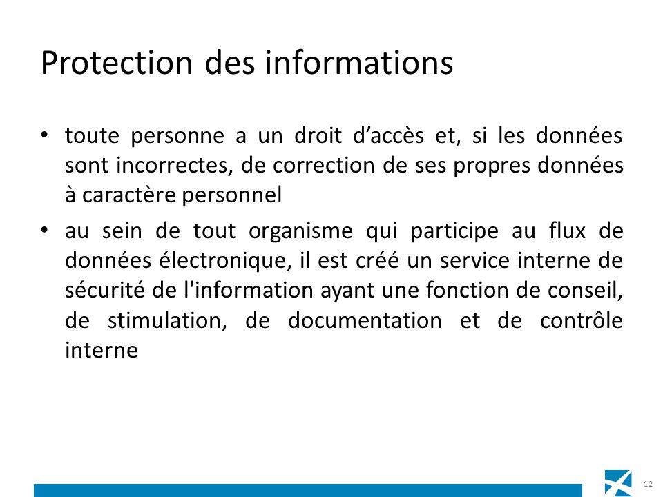 Protection des informations toute personne a un droit daccès et, si les données sont incorrectes, de correction de ses propres données à caractère per