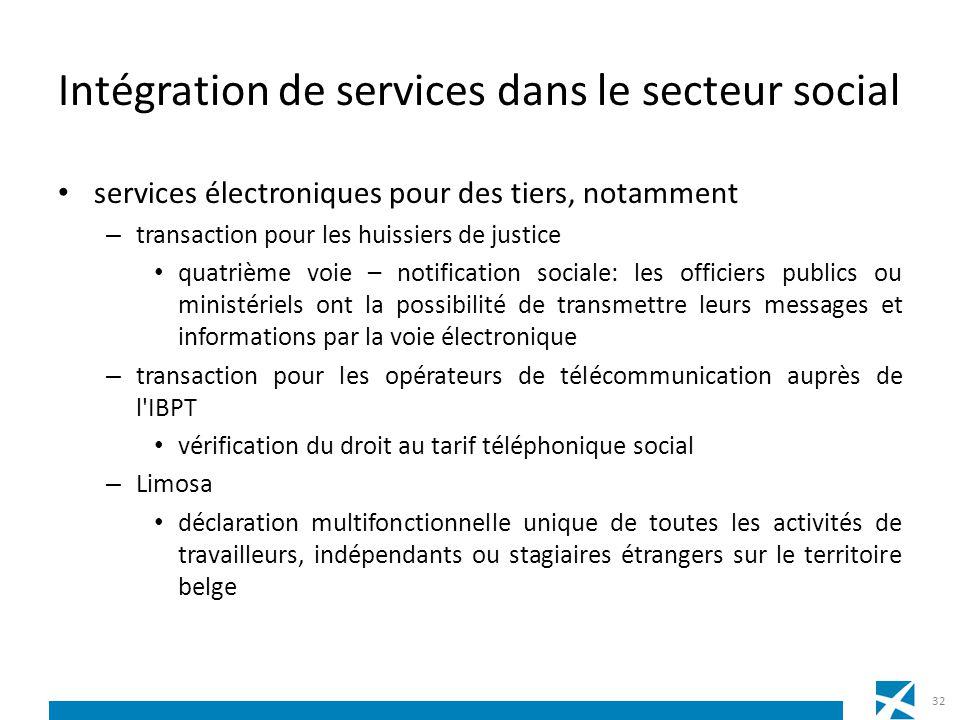 Intégration de services dans le secteur social services électroniques pour des tiers, notamment – transaction pour les huissiers de justice quatrième