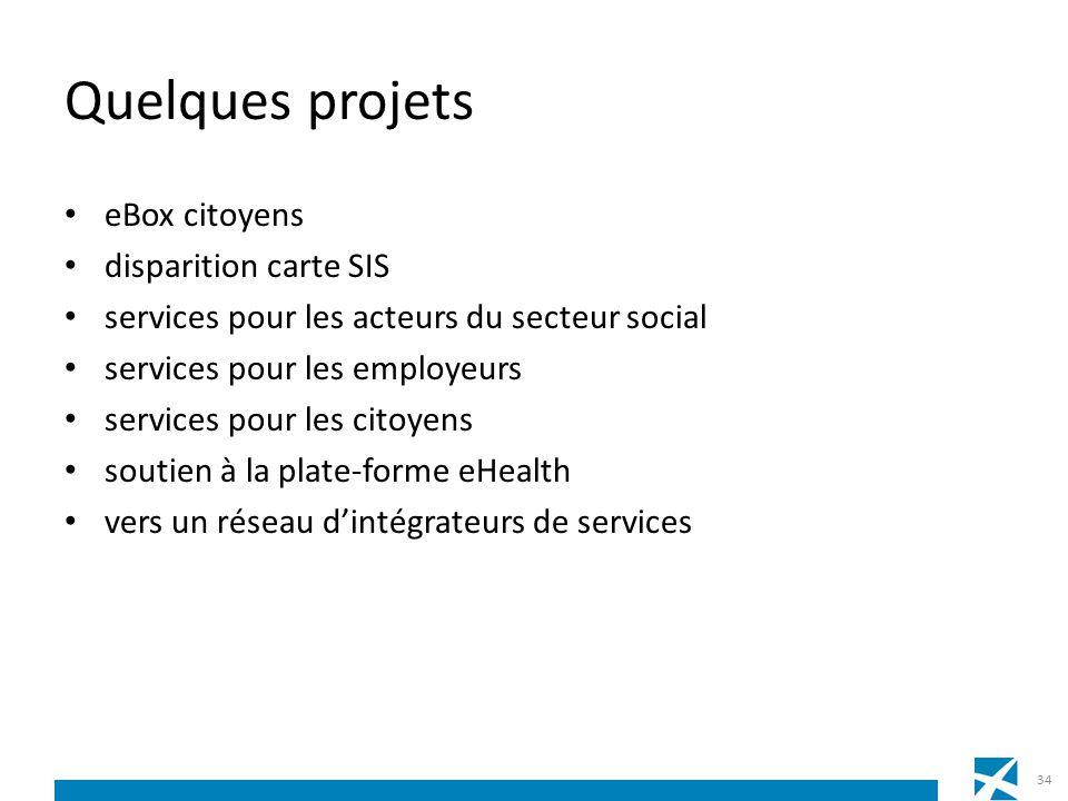 Quelques projets eBox citoyens disparition carte SIS services pour les acteurs du secteur social services pour les employeurs services pour les citoye