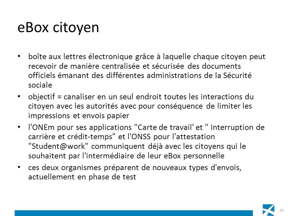 eBox citoyen boîte aux lettres électronique grâce à laquelle chaque citoyen peut recevoir de manière centralisée et sécurisée des documents officiels
