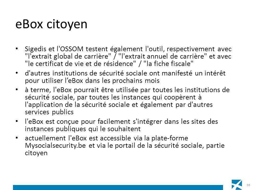 eBox citoyen Sigedis et l'OSSOM testent également l'outil, respectivement avec