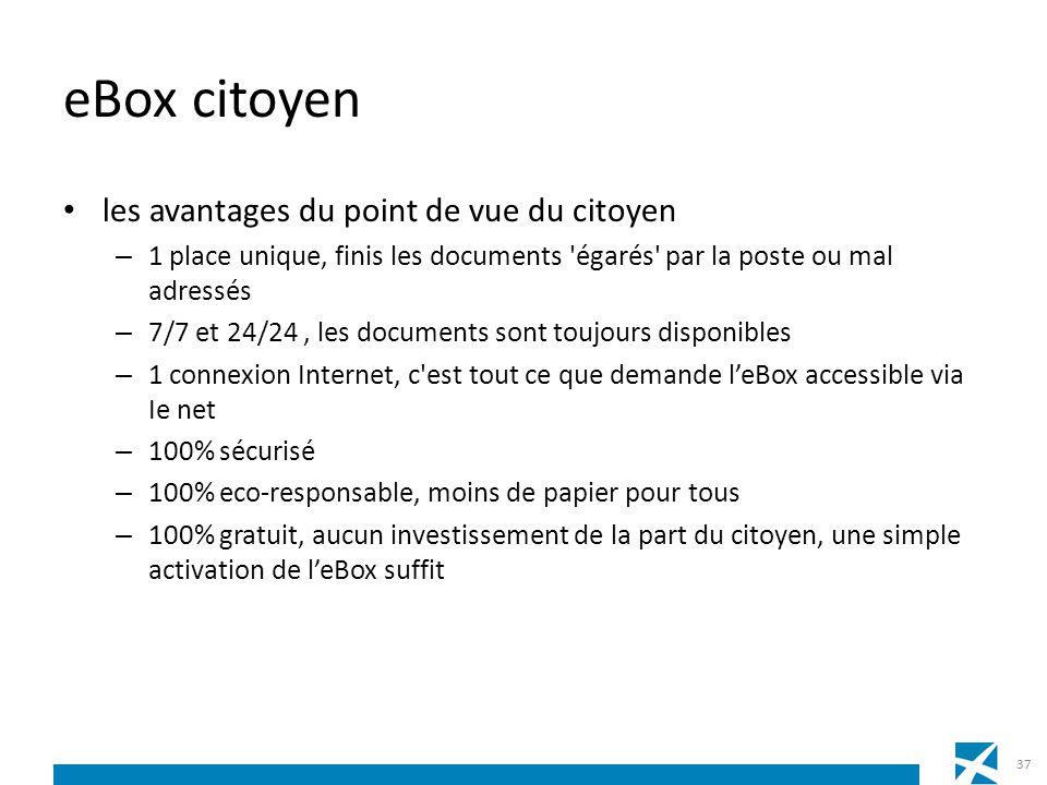 eBox citoyen les avantages du point de vue du citoyen – 1 place unique, finis les documents 'égarés' par la poste ou mal adressés – 7/7 et 24/24, les