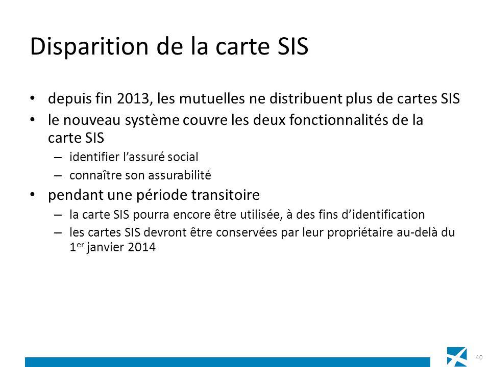 Disparition de la carte SIS depuis fin 2013, les mutuelles ne distribuent plus de cartes SIS le nouveau système couvre les deux fonctionnalités de la
