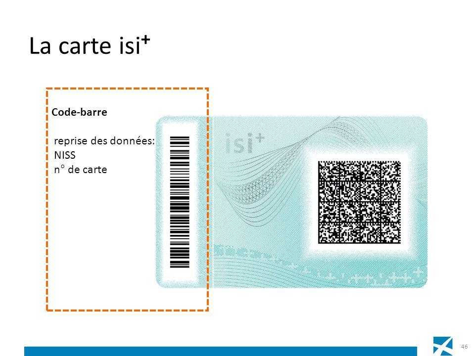 La carte isi + 46 Code-barre reprise des données: NISS n° de carte
