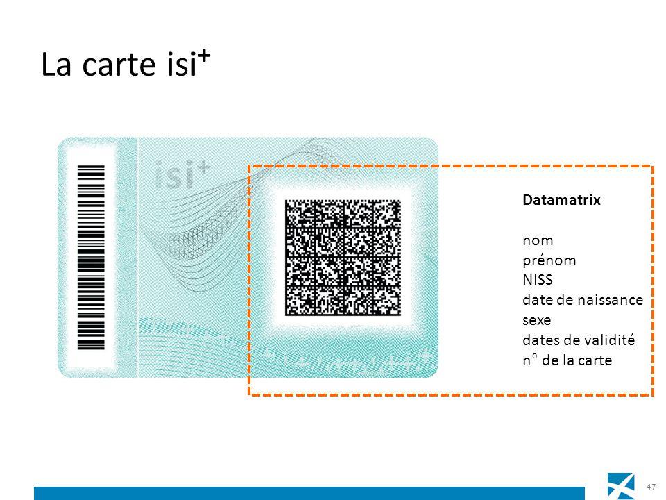 La carte isi + 47 Datamatrix nom prénom NISS date de naissance sexe dates de validité n° de la carte