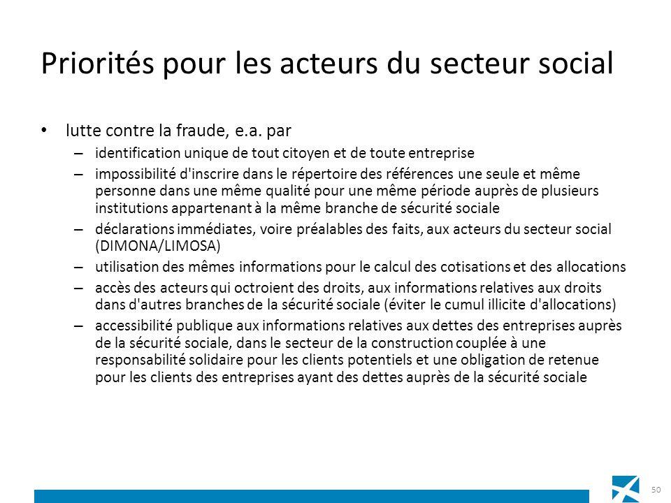 Priorités pour les acteurs du secteur social lutte contre la fraude, e.a. par – identification unique de tout citoyen et de toute entreprise – impossi