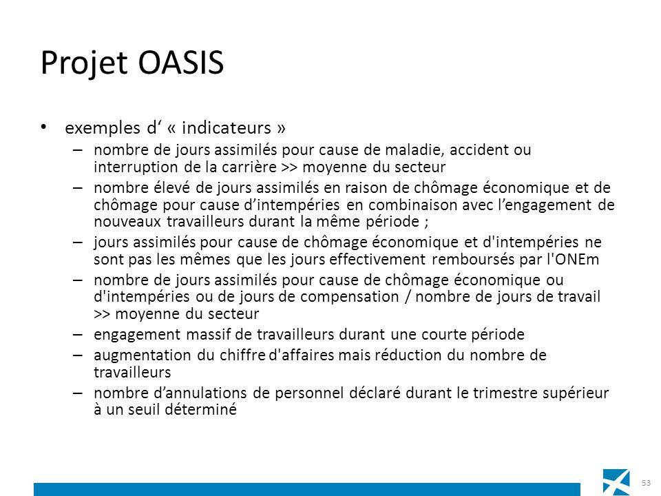 Projet OASIS exemples d « indicateurs » – nombre de jours assimilés pour cause de maladie, accident ou interruption de la carrière >> moyenne du secte
