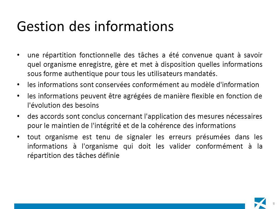 Gestion des informations une répartition fonctionnelle des tâches a été convenue quant à savoir quel organisme enregistre, gère et met à disposition q