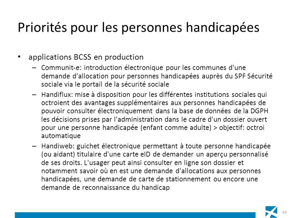 Priorités pour les personnes handicapées applications BCSS en production – Communit-e: introduction électronique pour les communes d'une demande d'all