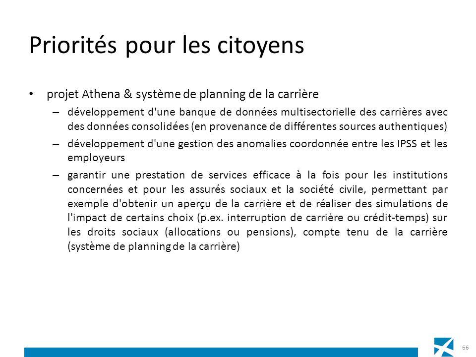 Priorités pour les citoyens projet Athena & système de planning de la carrière – développement d'une banque de données multisectorielle des carrières