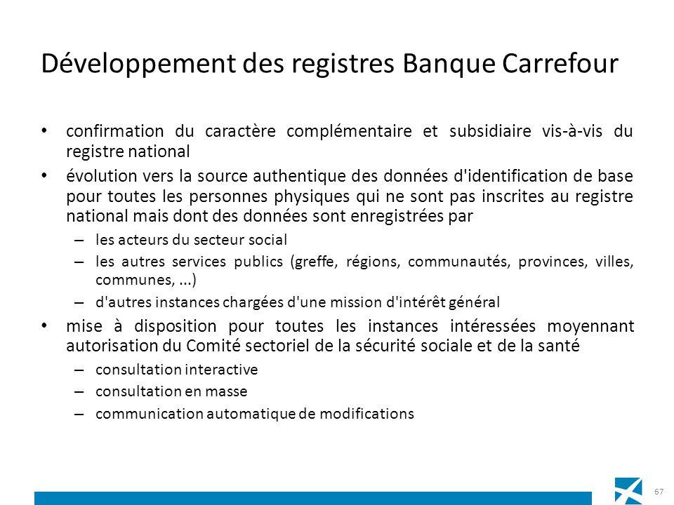 Développement des registres Banque Carrefour confirmation du caractère complémentaire et subsidiaire vis-à-vis du registre national évolution vers la