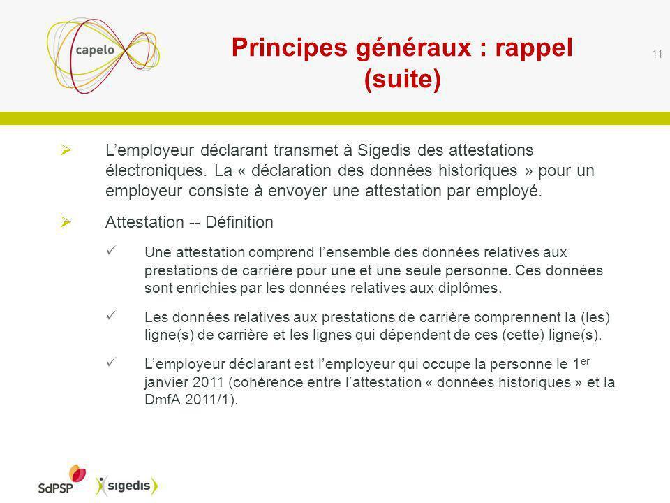 Principes généraux : rappel (suite) 11 Lemployeur déclarant transmet à Sigedis des attestations électroniques.