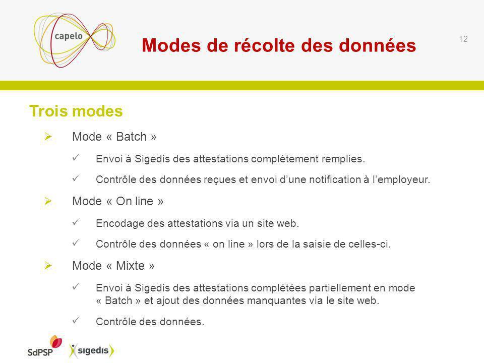 12 Mode « Batch » Envoi à Sigedis des attestations complètement remplies.