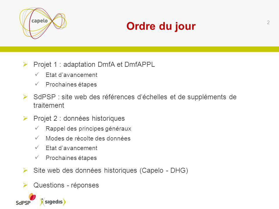Questions reçues par écrit préalablement : réponses sur base dexemples DmfA-DmfAPPL : date de début et de fin de la ligne de données relatives au secteur public.