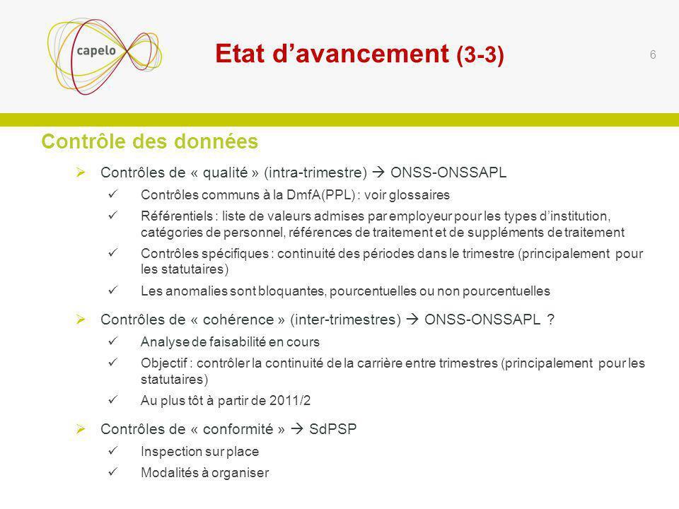 Questions reçues par écrit préalablement : réponses sur base dexemples (suite) Exemple 2 : trimestre 2011/2.