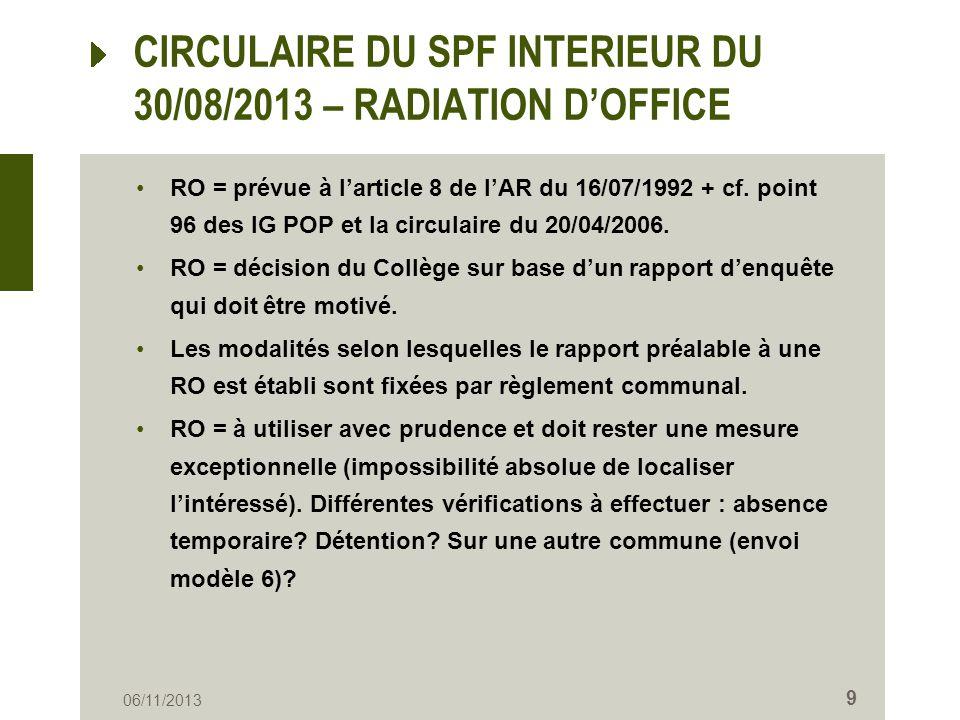 CIRCULAIRE DU SPF INTERIEUR DU 30/08/2013 – RADIATION DOFFICE RO = prévue à larticle 8 de lAR du 16/07/1992 + cf. point 96 des IG POP et la circulaire