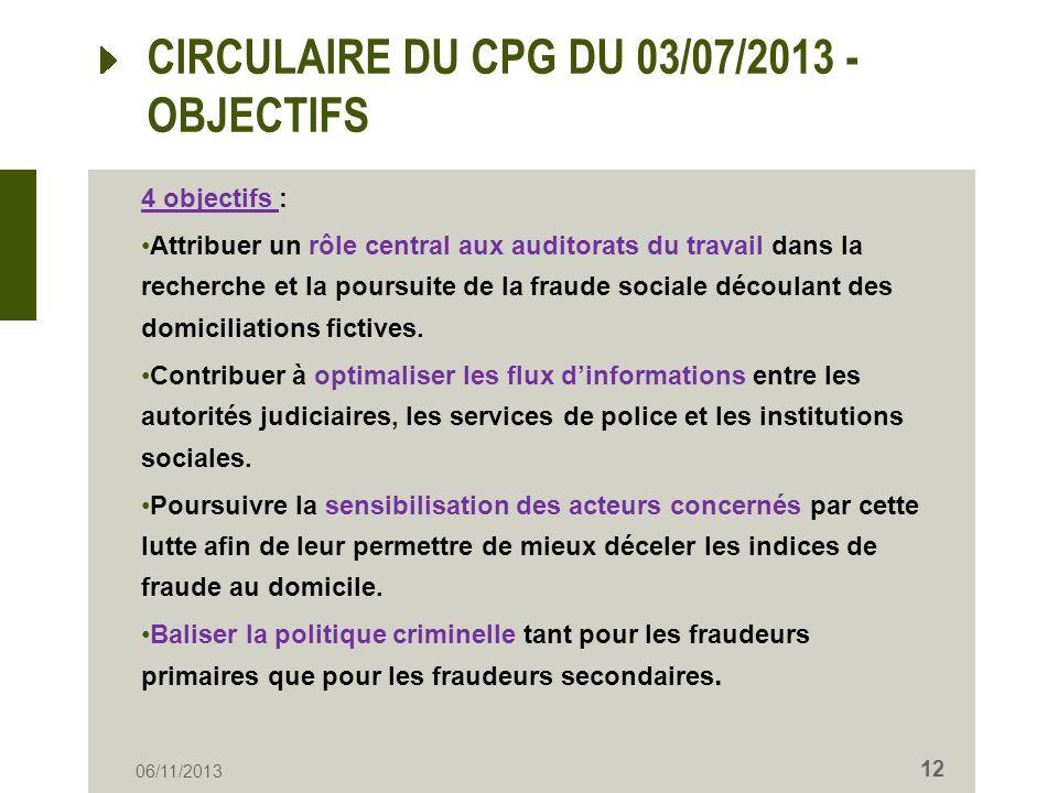 CIRCULAIRE DU CPG DU 03/07/2013 - OBJECTIFS 4 objectifs : Attribuer un rôle central aux auditorats du travail dans la recherche et la poursuite de la