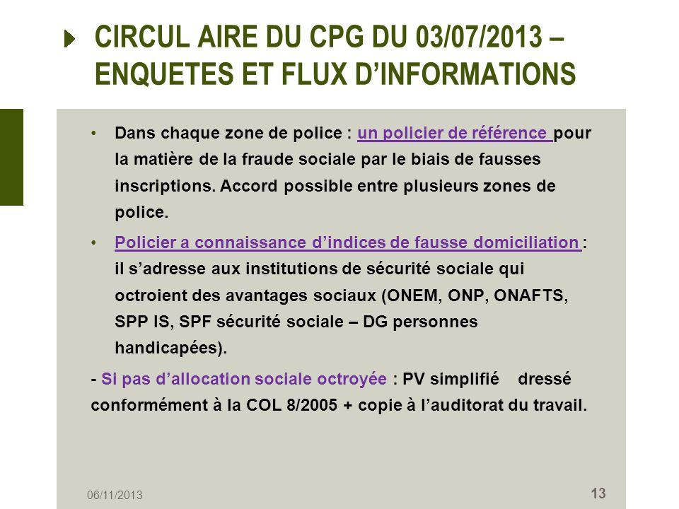 CIRCUL AIRE DU CPG DU 03/07/2013 – ENQUETES ET FLUX DINFORMATIONS Dans chaque zone de police : un policier de référence pour la matière de la fraude s