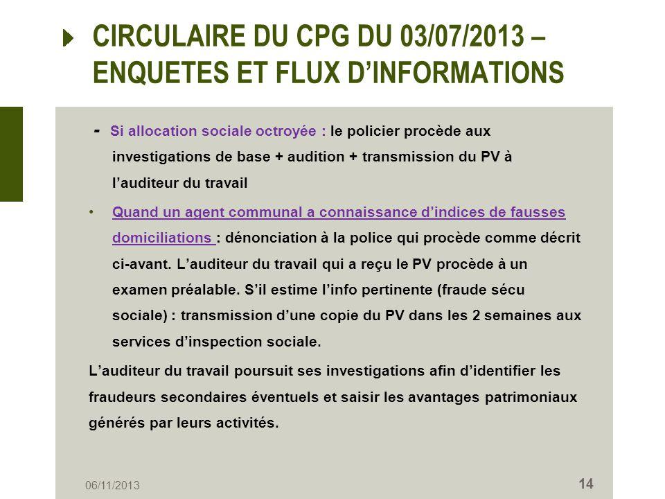 CIRCULAIRE DU CPG DU 03/07/2013 – ENQUETES ET FLUX DINFORMATIONS - Si allocation sociale octroyée : le policier procède aux investigations de base + a