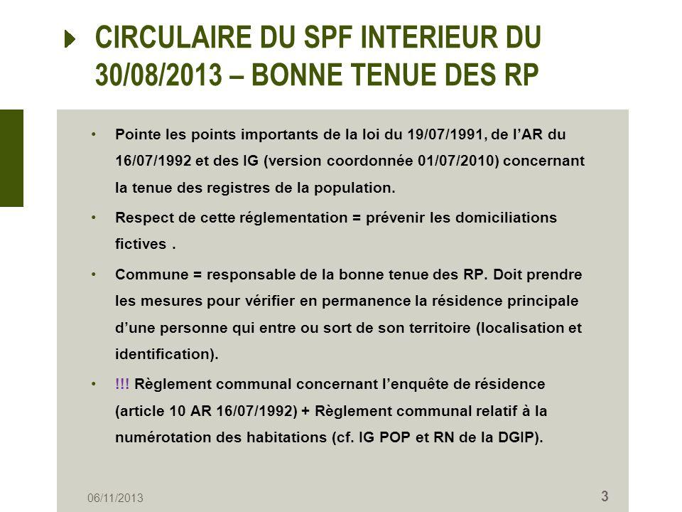 CIRCULAIRE DU SPF INTERIEUR DU 30/08/2013 – BONNE TENUE DES RP Pointe les points importants de la loi du 19/07/1991, de lAR du 16/07/1992 et des IG (v