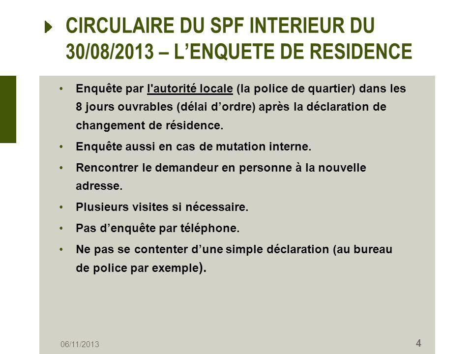 CIRCULAIRE DU SPF INTERIEUR DU 30/08/2013 – LENQUETE DE RESIDENCE Enquête par l'autorité locale (la police de quartier) dans les 8 jours ouvrables (dé