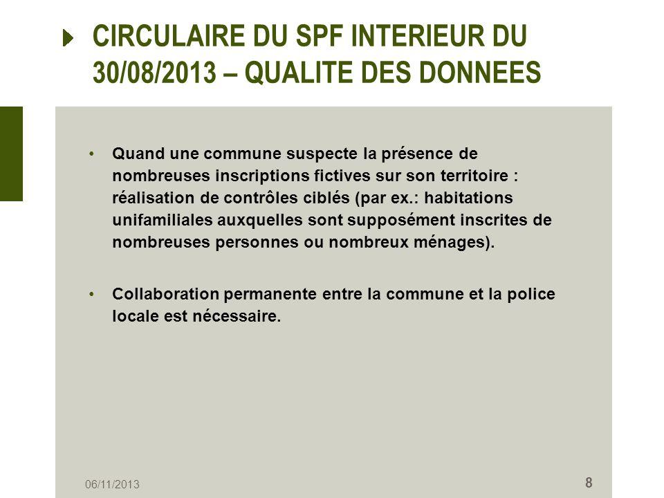 CIRCULAIRE DU SPF INTERIEUR DU 30/08/2013 – RADIATION DOFFICE RO = prévue à larticle 8 de lAR du 16/07/1992 + cf.