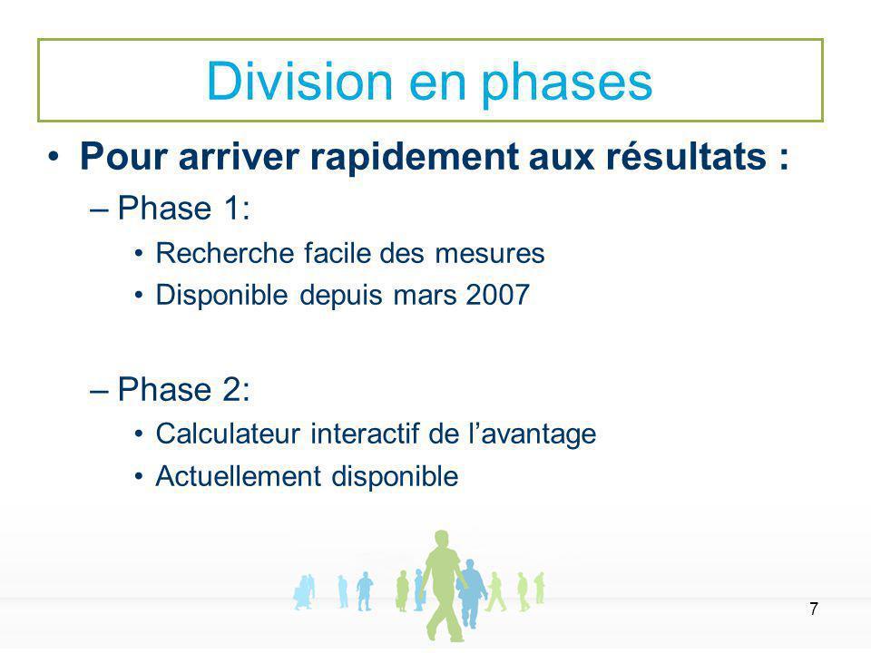 7 Pour arriver rapidement aux résultats : –Phase 1: Recherche facile des mesures Disponible depuis mars 2007 –Phase 2: Calculateur interactif de lavantage Actuellement disponible Division en phases