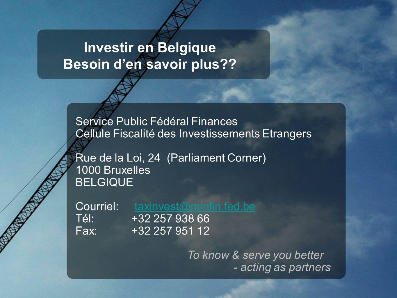 Investir en Belgique Besoin den savoir plus .