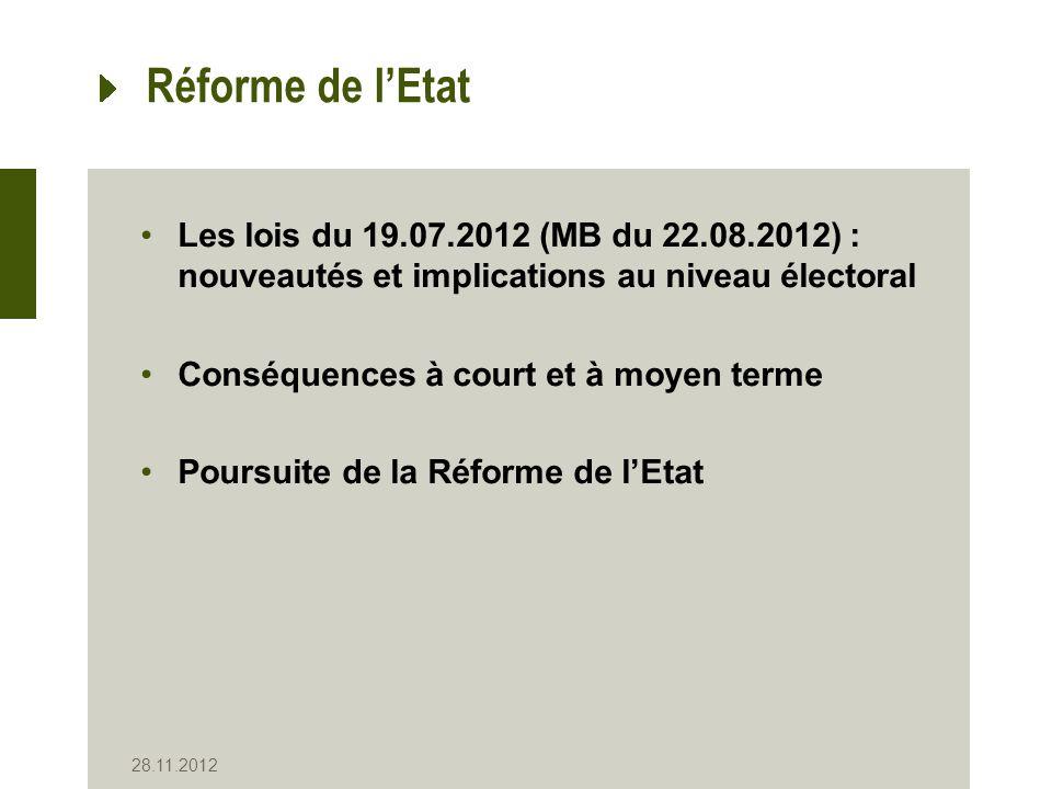 28.11.2012 Réforme de lEtat Les lois du 19.07.2012 (MB du 22.08.2012) : nouveautés et implications au niveau électoral Conséquences à court et à moyen terme Poursuite de la Réforme de lEtat