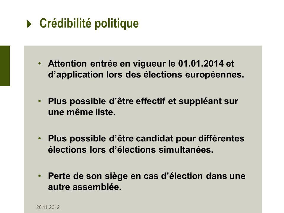 Crédibilité politique Attention entrée en vigueur le 01.01.2014 et dapplication lors des élections européennes.