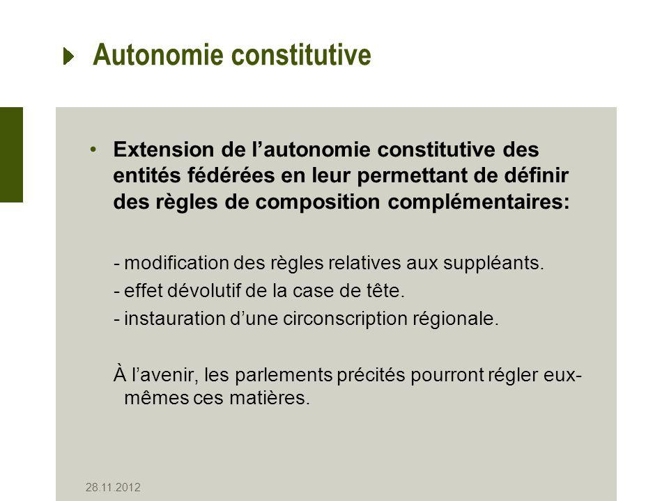 Autonomie constitutive Extension de lautonomie constitutive des entités fédérées en leur permettant de définir des règles de composition complémentaires: -modification des règles relatives aux suppléants.