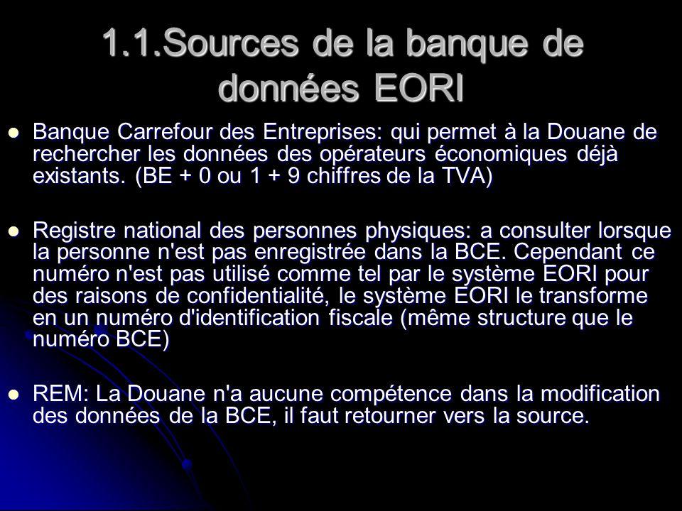 1.1.Sources de la banque de données EORI Banque Carrefour des Entreprises: qui permet à la Douane de rechercher les données des opérateurs économiques