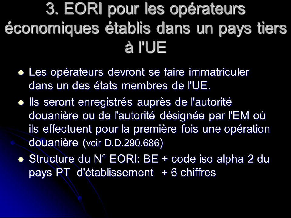 3. EORI pour les opérateurs économiques établis dans un pays tiers à l'UE Les opérateurs devront se faire immatriculer dans un des états membres de l'