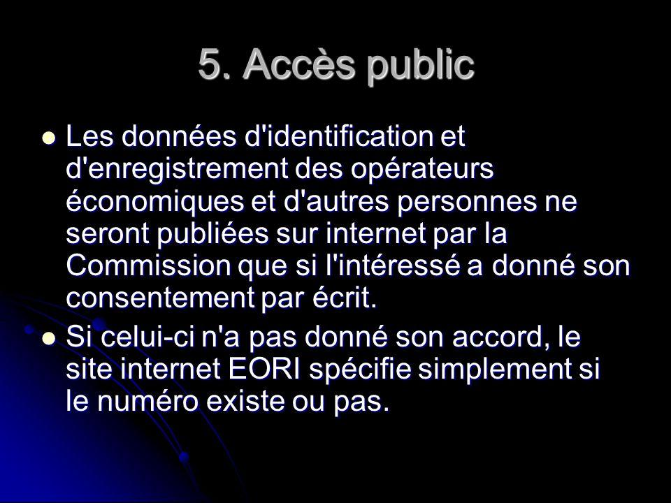 5. Accès public Les données d'identification et d'enregistrement des opérateurs économiques et d'autres personnes ne seront publiées sur internet par