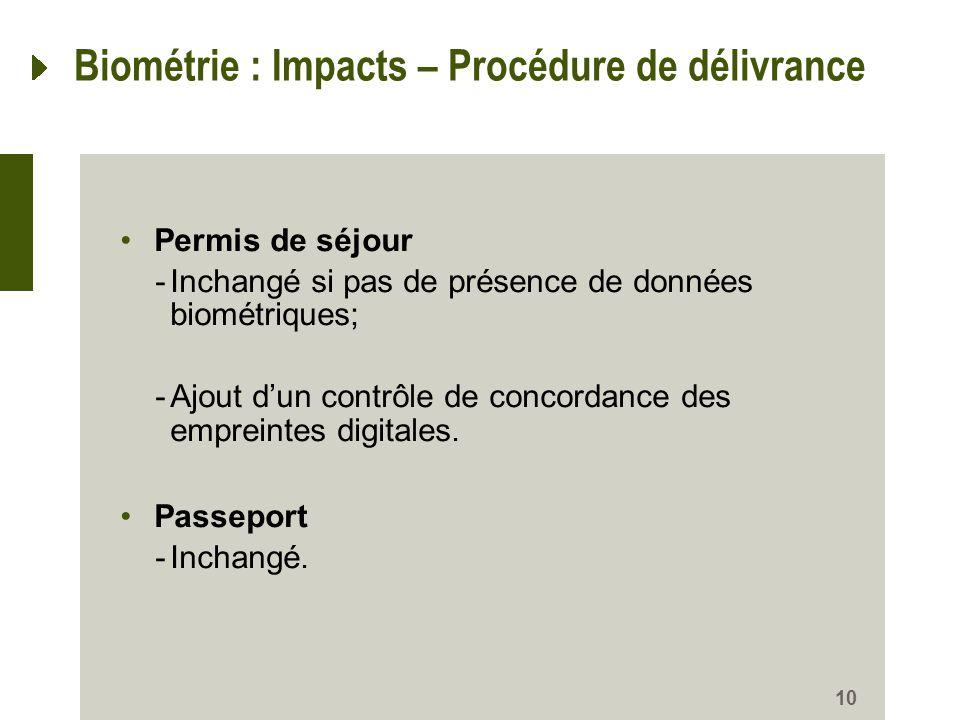 10 Biométrie : Impacts – Procédure de délivrance Permis de séjour -Inchangé si pas de présence de données biométriques; -Ajout dun contrôle de concord