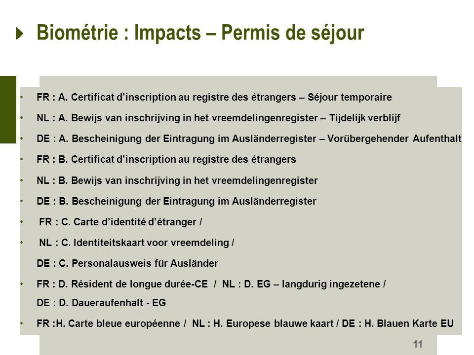 11 Biométrie : Impacts – Permis de séjour FR : A. Certificat dinscription au registre des étrangers – Séjour temporaire NL : A. Bewijs van inschrijvin