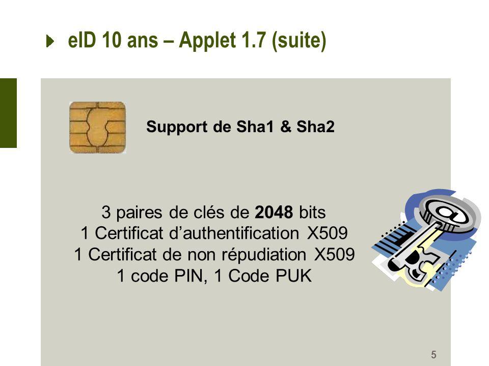 eID 10 ans – Applet 1.7 (suite) 5 3 paires de clés de 2048 bits 1 Certificat dauthentification X509 1 Certificat de non répudiation X509 1 code PIN, 1