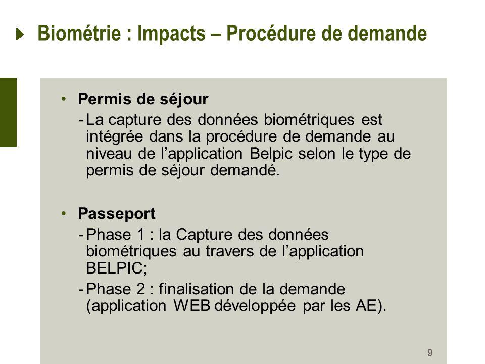 9 Biométrie : Impacts – Procédure de demande Permis de séjour -La capture des données biométriques est intégrée dans la procédure de demande au niveau