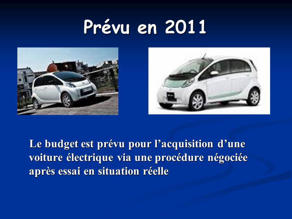 Prévu en 2011 Le budget est prévu pour lacquisition dune voiture électrique via une procédure négociée après essai en situation réelle