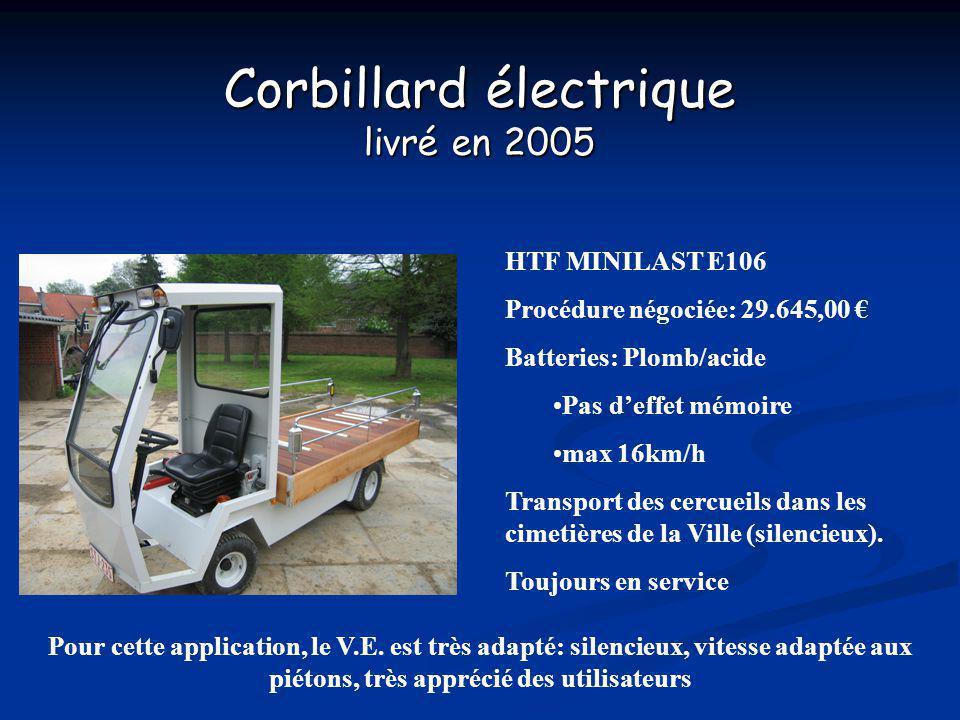 Corbillard électrique livré en 2005 HTF MINILAST E106 Procédure négociée: 29.645,00 Batteries: Plomb/acide Pas deffet mémoire max 16km/h Transport des cercueils dans les cimetières de la Ville (silencieux).