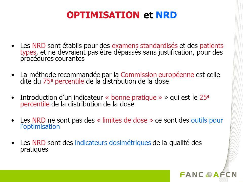 OPTIMISATION et NRD Les NRD sont établis pour des examens standardisés et des patients types, et ne devraient pas être dépassés sans justification, po